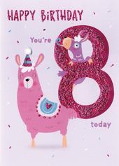 Happy Birthday Llama Girls 8th Birthday Greeting Card