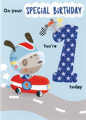 You're 1 Today Boys 1st Birthday Greeting Card