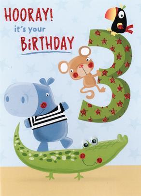 Hooray Zoo Animals Boys 3rd Birthday Greeting Card