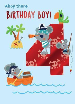 Ahoy There Birthday Boy 4th Birthday Greeting Card