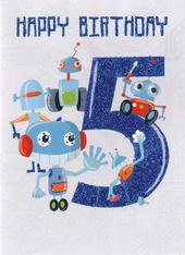Happy Birthday Robots Boys 5th Birthday Greeting Card