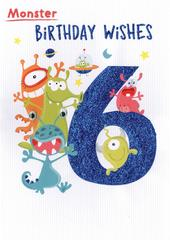 Monster Birthday Wishes Boys 6th Birthday Greeting Card