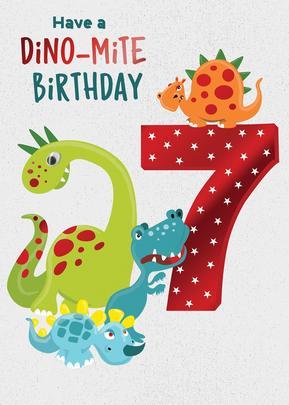 Dino-mite Birthday Boys 7th Birthday Greeting Card