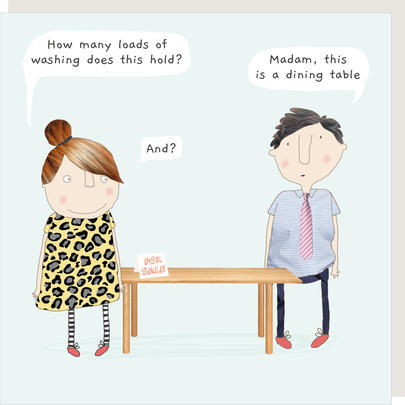 Rosie Made A Thing Dining Table Funny Babble Birthday Card