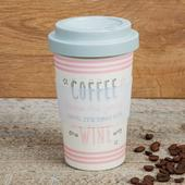 Eco Coffee Until Time For Wine Bamboo Travel Mug With Screw Lid & Silicone Band