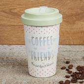 Eco Coffee & Friends Bamboo Travel Mug With Screw Lid & Silicone Band