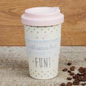 Eco Bad Influence But Fun Bamboo Travel Mug With Screw Lid & Silicone Band