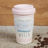Eco Loveliest Mummy Bamboo Travel Mug With Screw Lid & Silicone Band