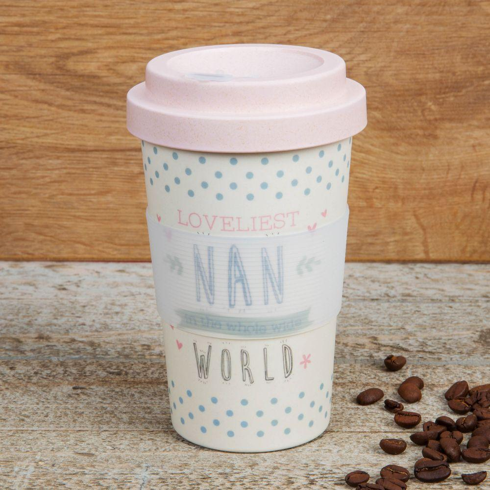Eco Loveliest Nan Bamboo Travel Mug With Screw Lid & Silicone Band