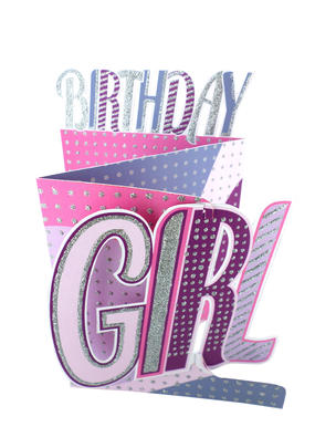 Pink Birthday Girl 3D Cutting Edge Birthday Card