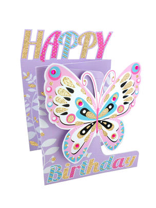 Butterfly Happy Birthday 3D Cutting Edge Birthday Card