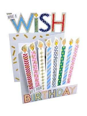 Make A Wish Candles 3D Cutting Edge Birthday Card