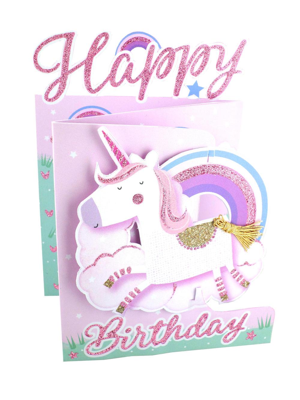 happy birthday unicorn 3d cutting edge birthday card  cards