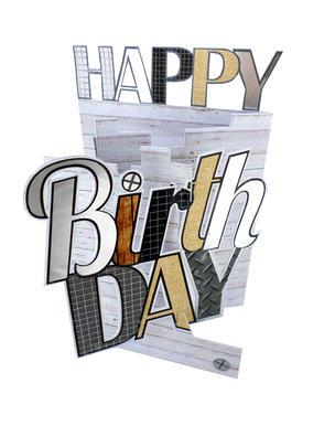 Happy Birthday Male 3D Cutting Edge Birthday Card
