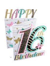 Happy 16th Birthday Girls 3D Cutting Edge Birthday Card