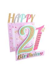 21st Birthday Female 3D Cutting Edge Birthday Card
