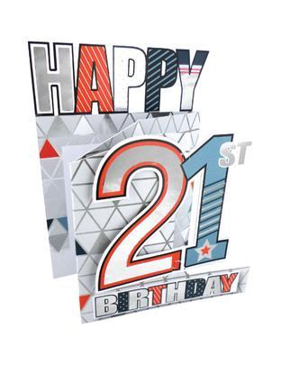 21st Birthday Male 3D Cutting Edge Birthday Card