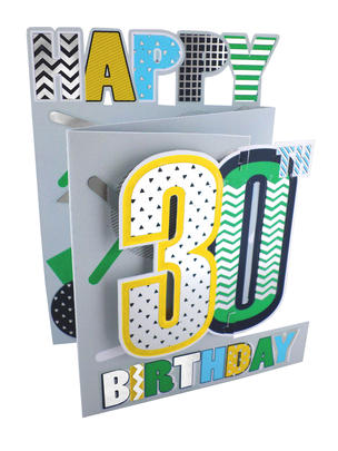 30th Birthday Male 3D Cutting Edge Birthday Card