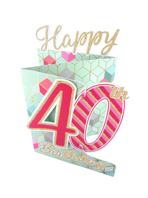 40th Birthday Female 3D Cutting Edge Birthday Card