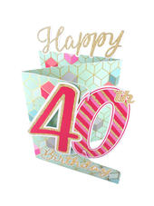 40th Birthday Female 3D Cutting Edge Birthday Card