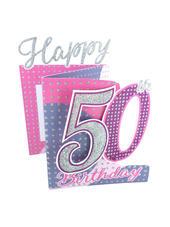 50th Birthday Female 3D Cutting Edge Birthday Card