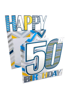 50th Birthday Male 3D Cutting Edge Birthday Card