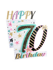 70th Birthday Female 3D Cutting Edge Birthday Card
