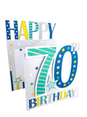 70th Birthday Male 3D Cutting Edge Birthday Card
