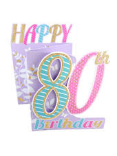 80th Birthday Female 3D Cutting Edge Birthday Card