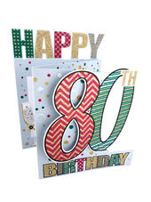 80th Birthday Male 3D Cutting Edge Birthday Card