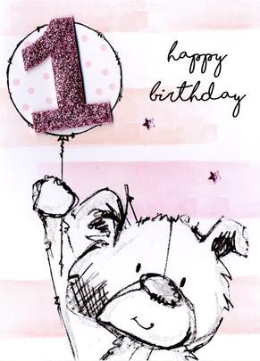 Scribble Bear Girls 1st Birthday Greeting Card
