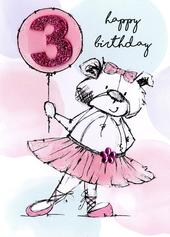 Scribble Bear Girls 3rd Birthday Greeting Card