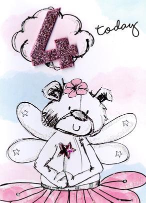 Scribble Bear Girls 4th Birthday Greeting Card
