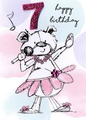 Scribble Bear Girls 7th Birthday Greeting Card