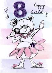 Scribble Bear Girls 8th Birthday Greeting Card