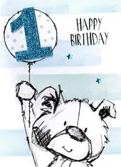 Scribble Bear Boys 1st Birthday Greeting Card