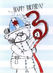 Scribble Bear Boys 3rd Birthday Greeting Card
