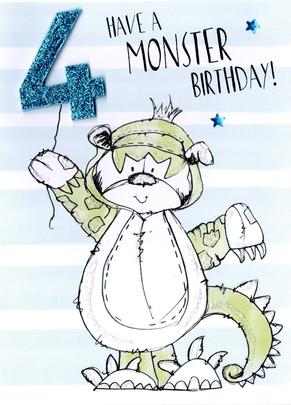 Scribble Bear Boys 4th Birthday Greeting Card