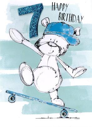 Scribble Bear Boys 7th Birthday Greeting Card