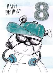 Scribble Bear Boys 8th Birthday Greeting Card