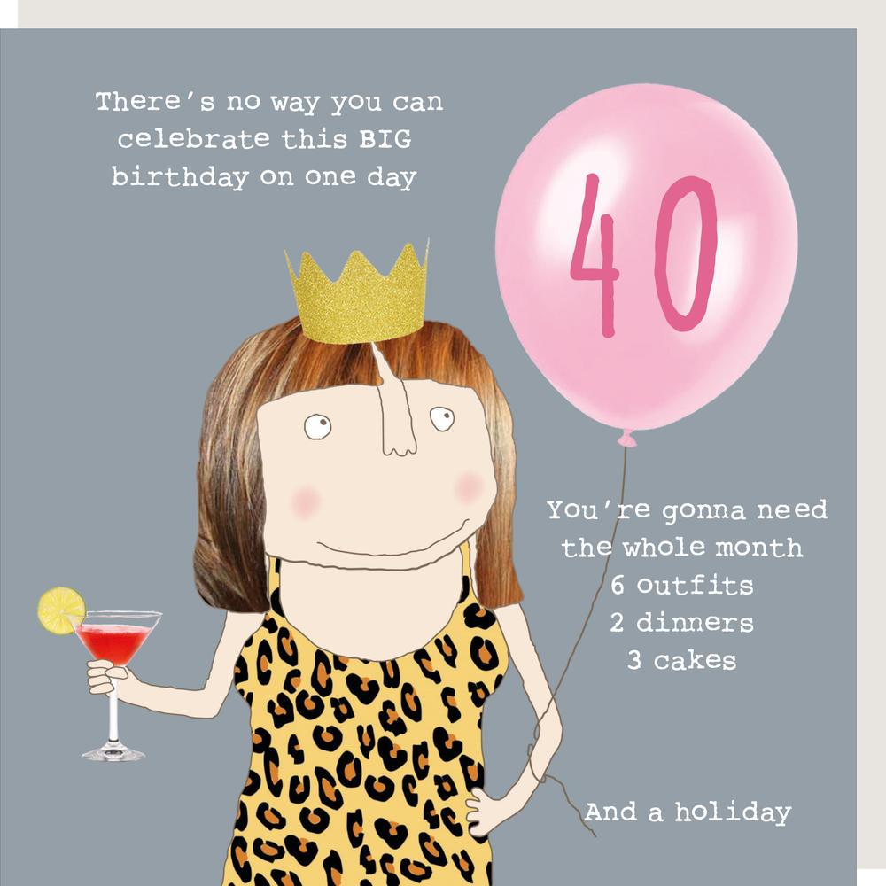 Rosie Made A Thing Big Birthday Female 40th Birthday Card