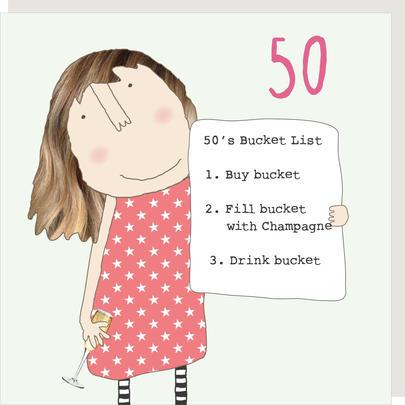 Rosie Made A Thing Bucket List Female 50th Birthday Card