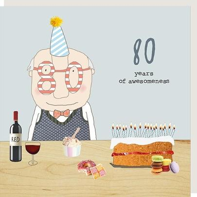 Rosie Made A Thing Awesomeness Male 80th Birthday Card