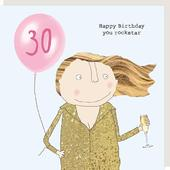 Rosie Made A Thing Rockstar Female 30th Happy Birthday Card