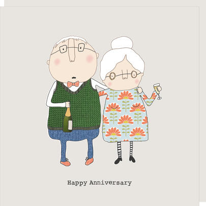 Rosie Made A Thing Mature People Happy Anniversary Greeting Card