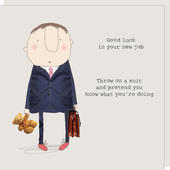 Rosie Made A Thing Male Good Luck In Your New Job Greeting Card