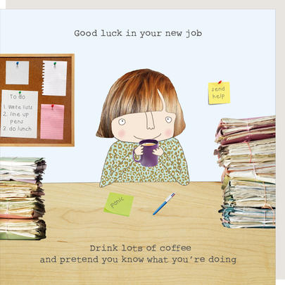 Rosie Made A Thing Female Good Luck In Your New Job Greeting Card