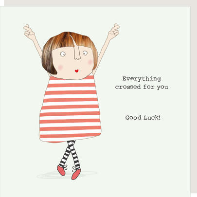 Rosie Made A Thing Everything Crossed Good Luck Greeting Card