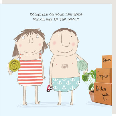 Rosie Made A Thing Which Way To The Pool New Home Greeting Card