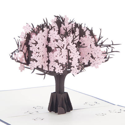 Pink Cherryblossom Pop-Up Any Occasion Greeting Card Blank Inside